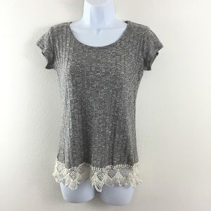 JOLT GRAY LACE TRIM RIBBED KNIT TOP